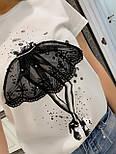 Черная и белая женская футболка из хлопка с рисунком 3317321, фото 3