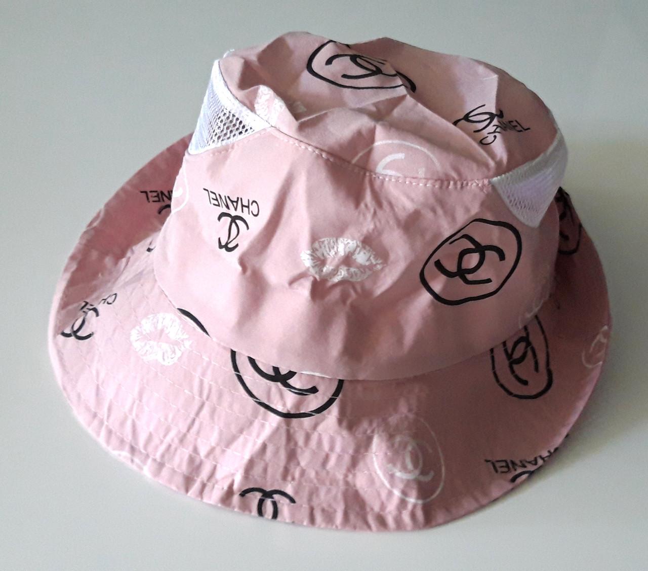 Панама хлопковая вставки сетка 56-58 см бледно-розовая