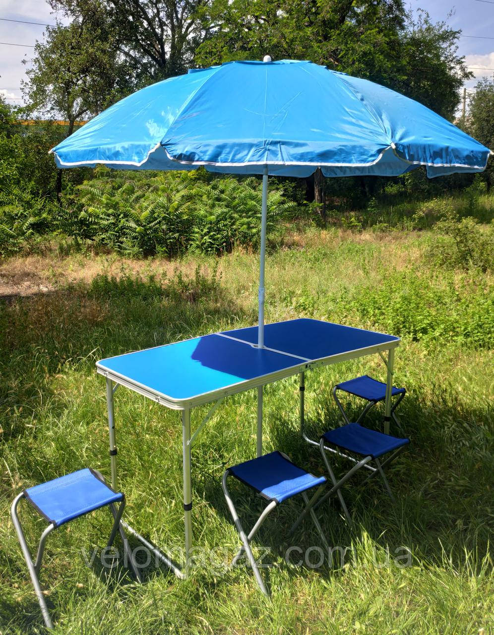 Раскладной удобный синий стол для пикника и 4 стула (серого цвета) + зонт 1,6 м в ПОДАРОК!