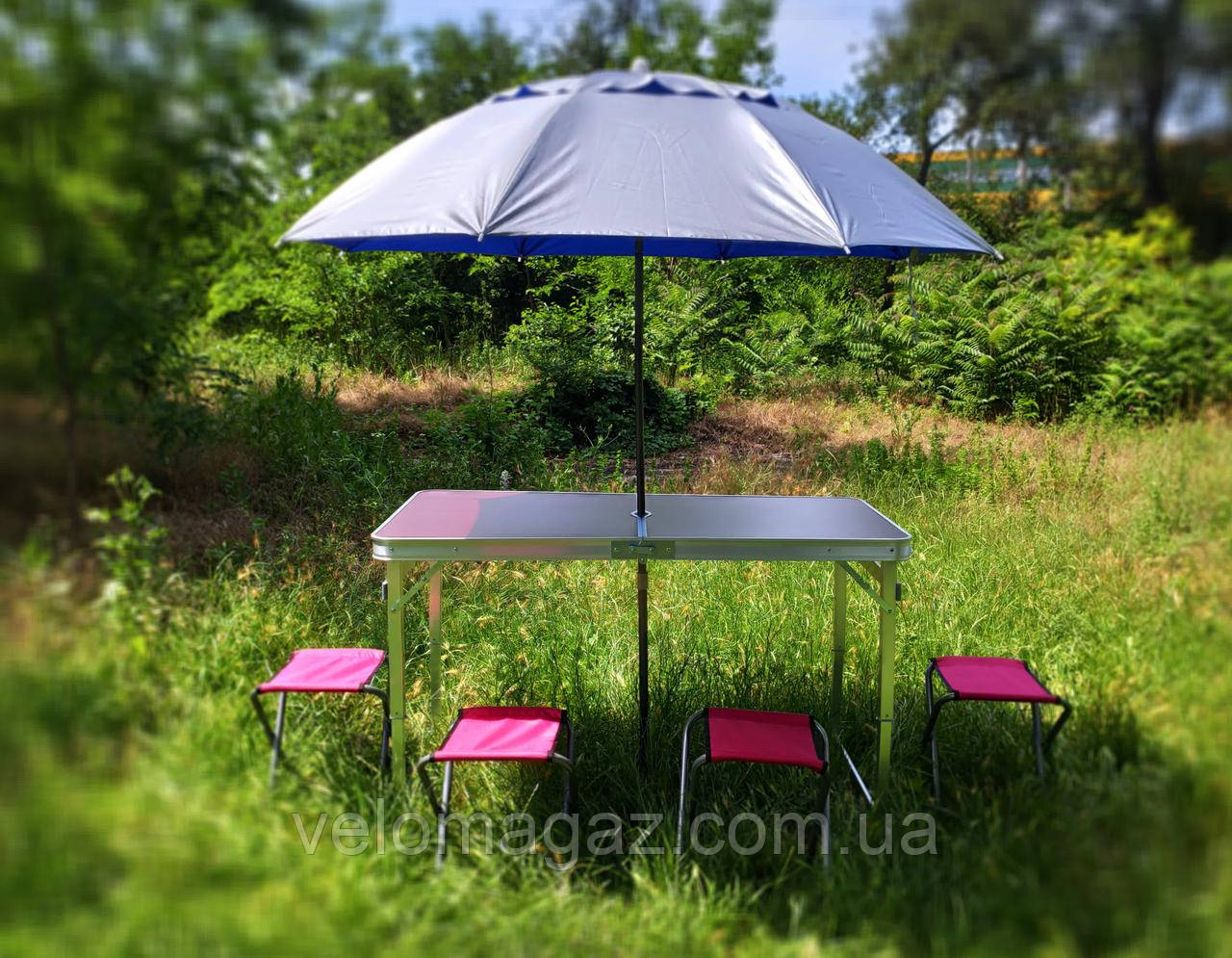 ПОСИЛЕНИЙ зручний розкладний стіл для пікніка та 4 стільця + компактний міцний парасолька 1,6 м у ПОДАРУНОК!