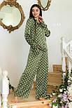 Шелковая пижама в горошек со штанами клеш и рубашкой 641982, фото 2