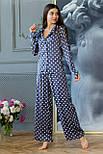 Шелковая пижама в горошек со штанами клеш и рубашкой 641982, фото 4
