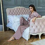 Шелковая пижама в горошек со штанами клеш и рубашкой 641982, фото 7