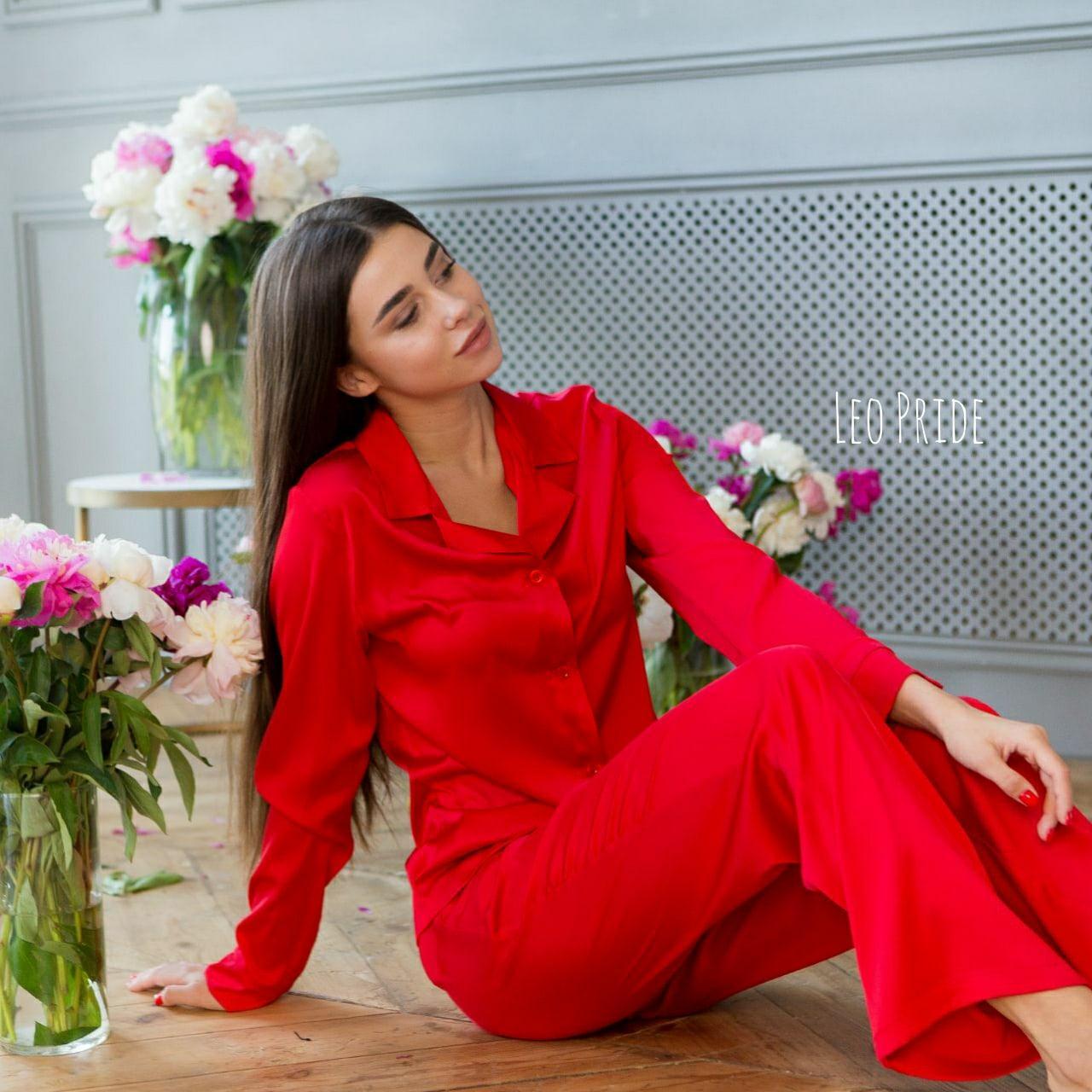 Женская пижама из шелка с широкими штанами и рубашкой 641984