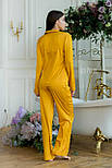 Женская пижама из шелка с широкими штанами и рубашкой 641984, фото 5
