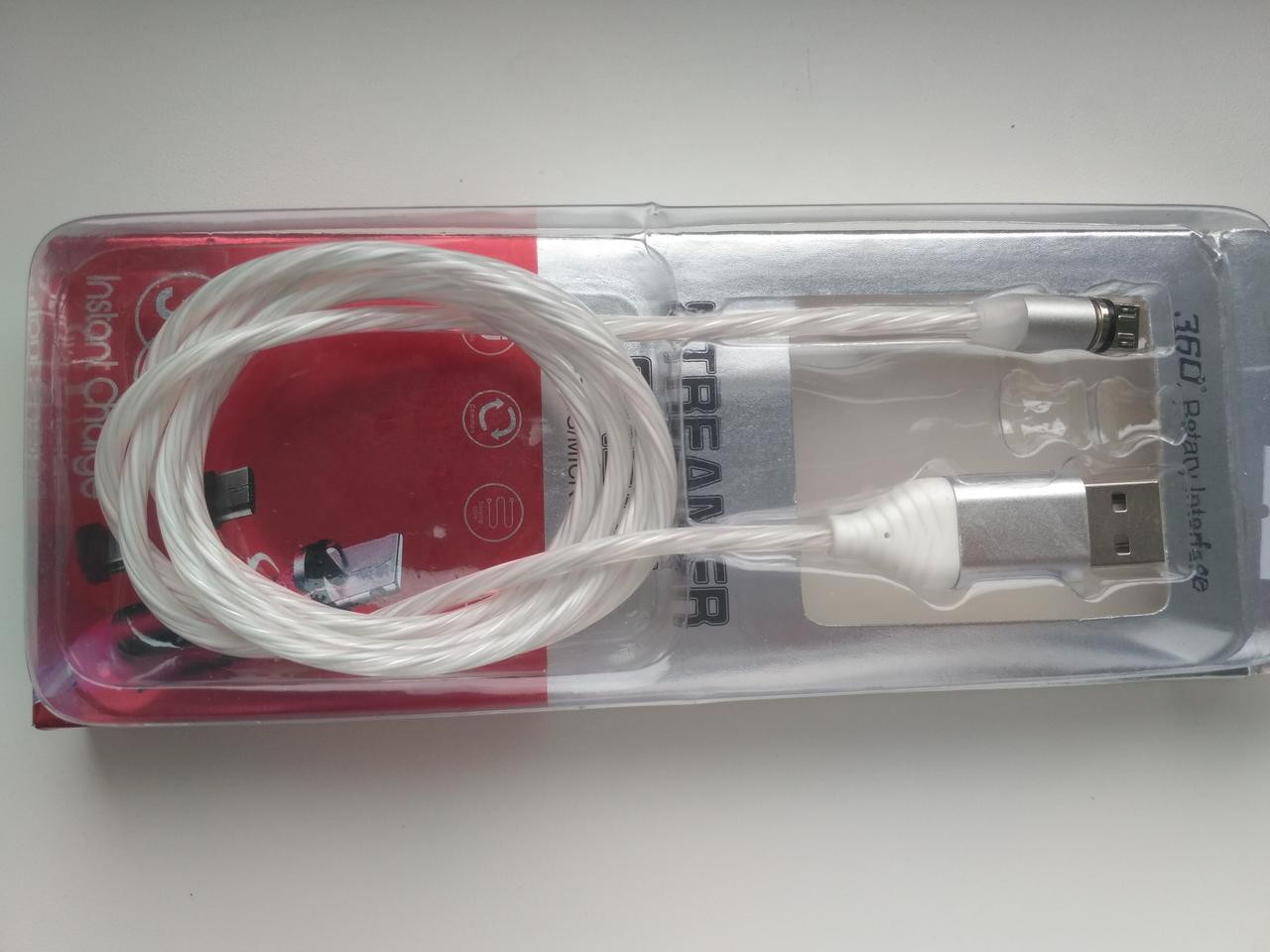 MicroUSB магнитный кабель светится для зарядки  1m 2.0 A белий (для андроид)