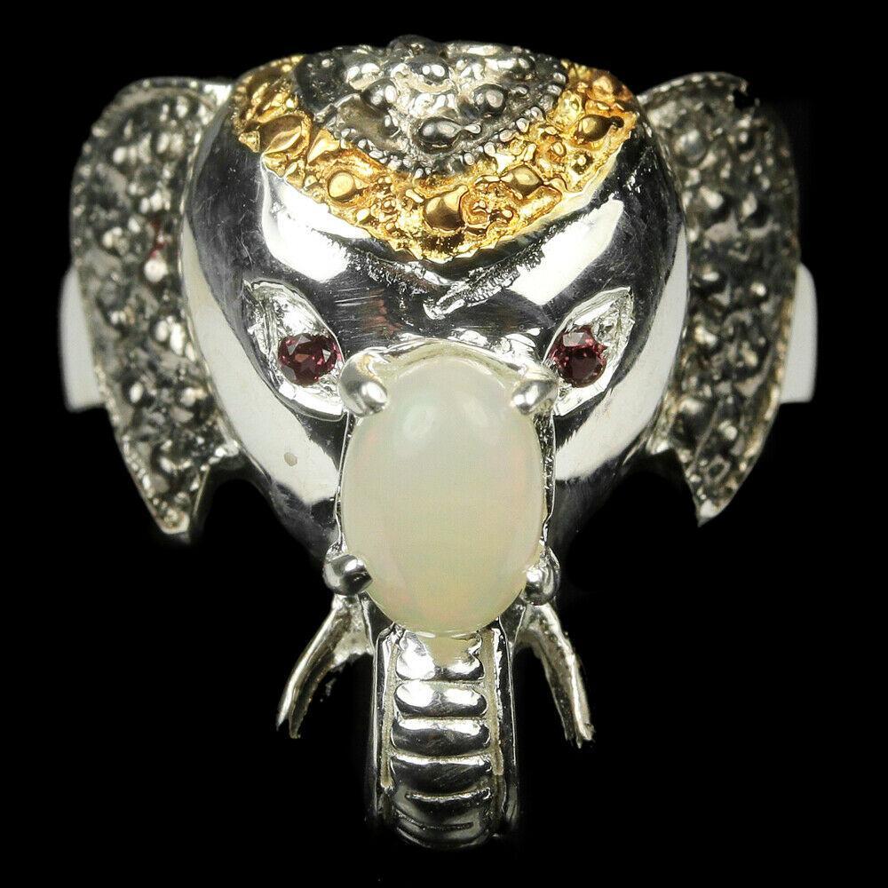 Серебряное кольцо с радужным опалом, 5*7 мм., 1458КО
