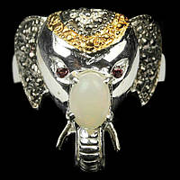 Серебряное кольцо с радужным опалом, 5*7 мм., 1458КО, фото 1