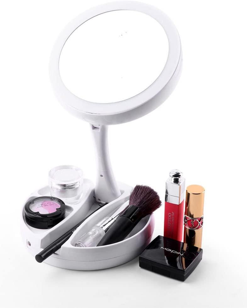 Зеркало для макияжа раскладное со светодиодной подсветкой (уценка)
