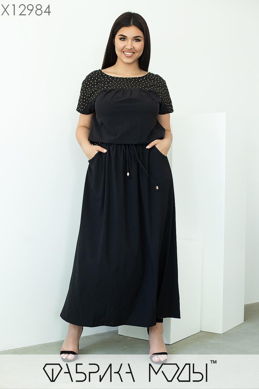 Длинное летнее платье в больших размерах с кулиской на талии и коротким рукавом 1ba681
