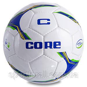 Мяч футбольный №5 SHINY CORE FIGHTER CR-028 (№5, 4 сл., сшит вручную, белый-синий-зеленый)
