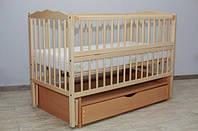 Кровать для новорожденных ТМ Дубок Веселка шарнир-подшибник с откид. боковина,шуфляда дерево без лака Эвисс Украина