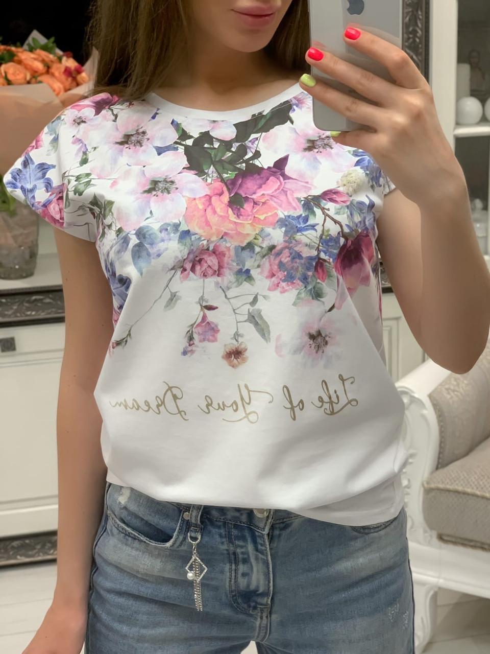 Женская белая футболка с цветочным рисунком 33ut322