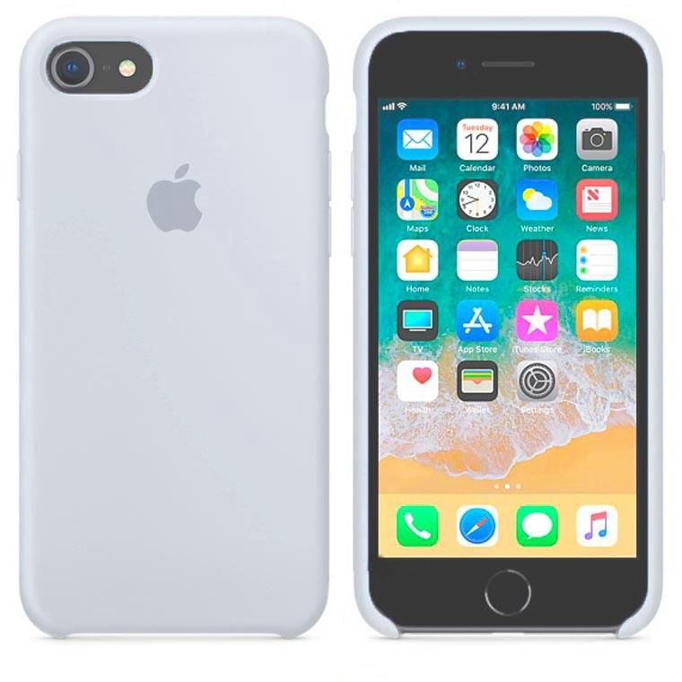 Чехол Apple Silicone Case Apple iPhone 7, iPhone 8Серо - Голубой