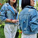 Женская короткая джинсовая куртка - косуха на молнии 79kur300, фото 2