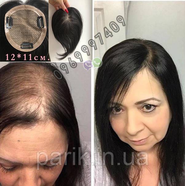 Чёрная накладка из натуральных волос на заколках клипсах, на волосы