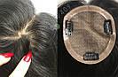 Чёрная накладка из натуральных волос на заколках клипсах, на волосы, фото 4