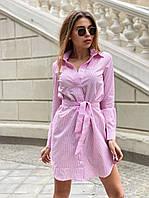 Летнее платье рубашка из коттона с поясом на талии и длинным рукавом 22mpl1288, фото 1