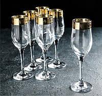 """Набор фужеров для шампанского 190 мл рисунок """"Версаче голд"""" 6шт."""