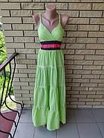 Сарафан длинный, в пол  ONE SHE , есть большие размеры, ткань хлопок