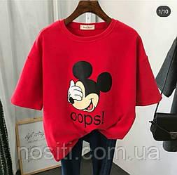 Женская футболка оверсайз с Микки Маусом