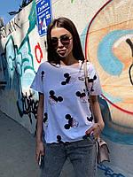 Хлопковая свободная женская футболка с Микки 68mfu320, фото 1