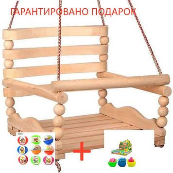 """Качеля детская  №2 K-0159 """"БУК"""" деревянная подвесная качеля"""