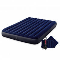Матрас надувной Intex + насос + две подушки 203 х 152 х 25 см