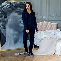 Жіноча однотонна шовкова піжама зі штанами і сорочкою 64OD80