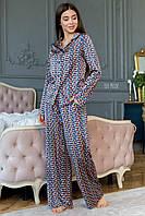 Принтованная шовкова жіноча піжама зі штанами кльош і сорочкою 64OD81