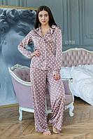 Шовкова піжама в горошок зі штанами кльош і сорочкою 64OD82