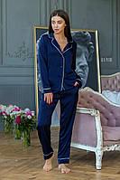 Женская шелковая пижама с рубашкой и штанами и окантовкой 64OD83