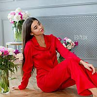 Жіноча піжама з шовку, з широкими штанами і сорочкою 64OD84