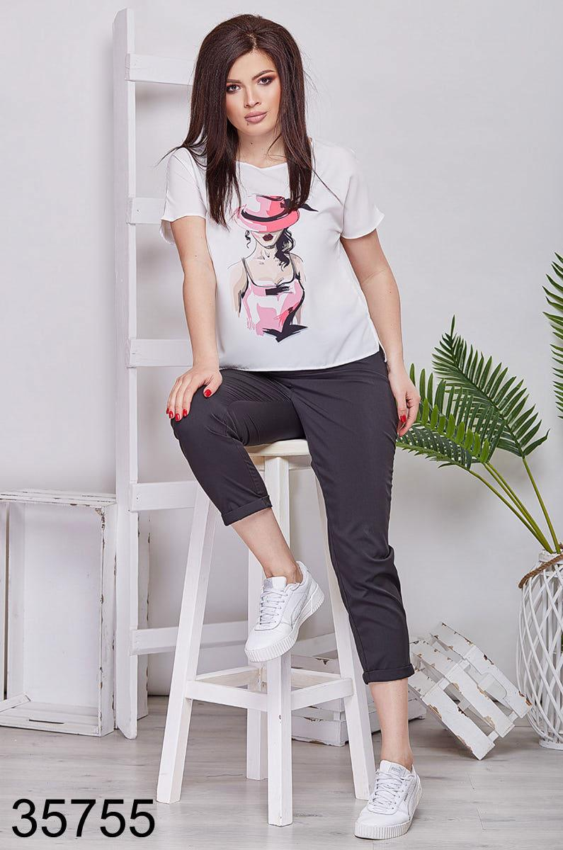 Модный костюм укороченные брюки + футболка р. 48-50, 52-54, 56-58, 60-62