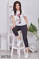 Модный костюм укороченные брюки + футболка р. 48-50, 52-54, 56-58, 60-62, фото 1