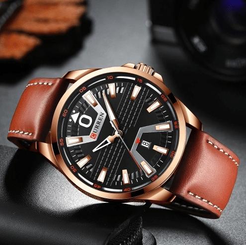 Чоловічі наручні годинники Curren 8379 Cuprum-Black-Brown