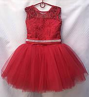 """Детское нарядное платье для девочки с короткой юбкой 6-7 лет,""""Барби"""",красного цвета, фото 1"""