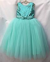 """Дитяча сукня для дівчинки 6-7 років,""""Паєтки бант"""",бірюзового кольору, фото 1"""