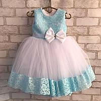 """Дитяча сукня для дівчинки 2-3 роки """"Гіпюр з бантиком"""", бірюзового кольору, фото 1"""