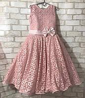 """Детское нарядное платье для девочки 7-8 лет """"Гипюр"""", пудрового цвета, фото 1"""