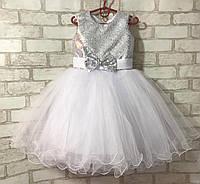 """Дитяча для дівчинки """"Паєтки-бантик"""" 3-4 року, білого кольору, фото 1"""