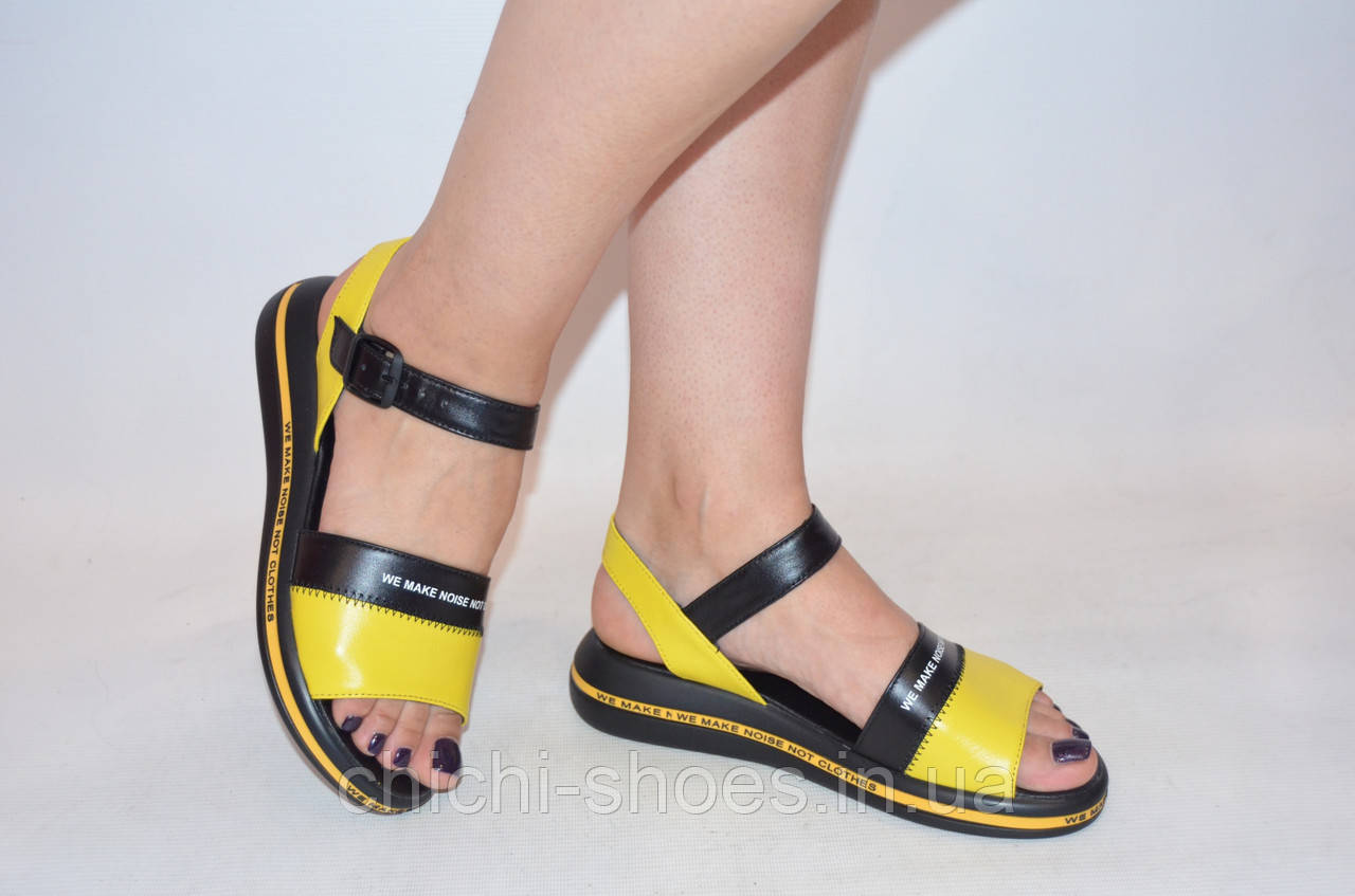 Босоножки женские чёрные с жёлтым кожаные Teona 20136