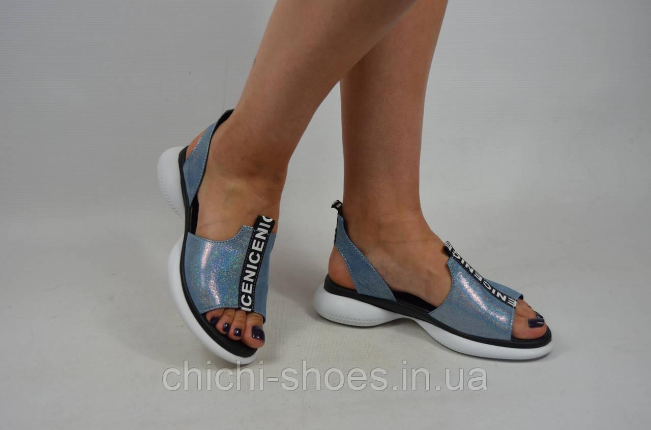 Босоножки женские бензин голубой кожаные Teona20161