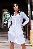 Женская стильная рубашка-халат.Ткань батист+вышивка нашитая бисером. Размеры 48,50,52,54,56 Производство Индия