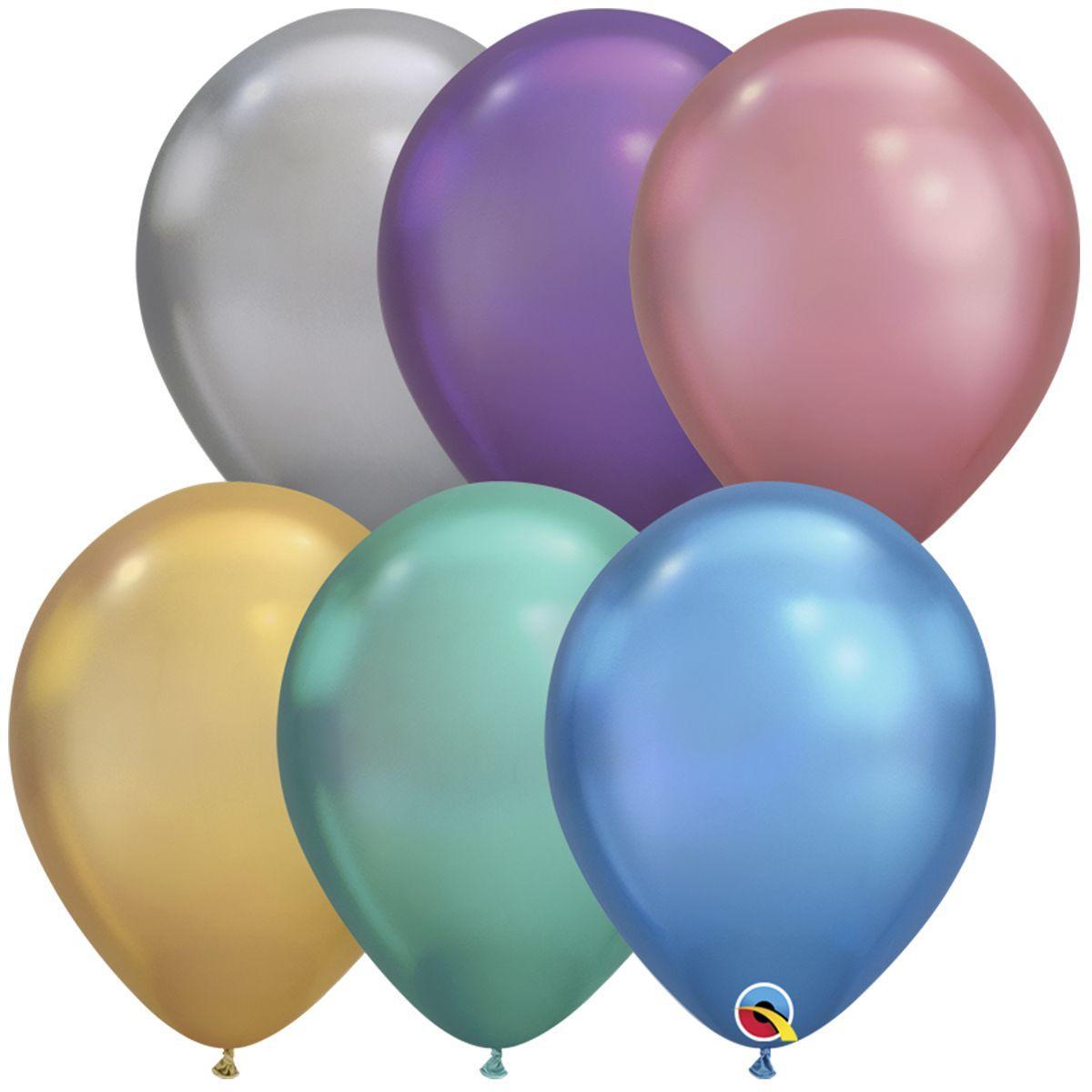 """Воздушные шары Qualatex США 11""""(28 см) Хром Ассорти"""