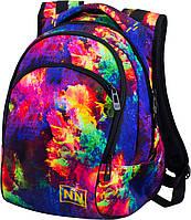 Рюкзак школьный подростковый для девочки яркий разноцветный абстрактный принт Winner One 245D 34х39х18 см