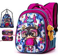 Школьный рюкзак (ранец) с ортопедической спинкой с мешком и пеналом розовый для девочки Winner one для 1 класса (Full-R1-004)