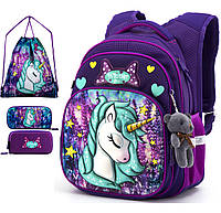 Школьный рюкзак (ранец) с ортопедической спинкой с мешком и пеналом фиолетовый для девочки Winner one для 1 класса (Full-R3-222)