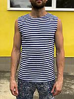 Тельняшка мужская безрукавка, хлопок-100%, размеры 44-56, ВДВ, ВМФ. Вязаная