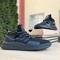 Топовые мужские кроссовки Adidas EQT Bask ADV черные на черной подошве (ТОП РЕПЛИКА), фото 1